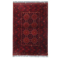 Handmade New Afghan Deep Red Rugs, Turkmen Design Carpet