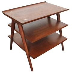 1950s American of Martinsville Three-Tier Walnut End Table