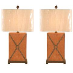 Beautiful Pair of Vintage Custom Brass Studded Leather Lamps