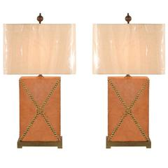 Handsome Pair of Vintage Custom Studded Leather Lamps