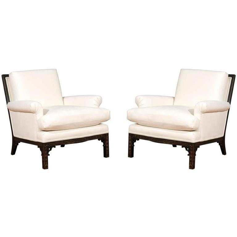 Elegant Pair of Modern Chippendale Loungers in the Style of David Hicks For Sale