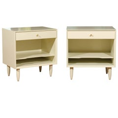 Beautiful Restored Pair of Modern End Tables by John Stuart in Cream Lacquer