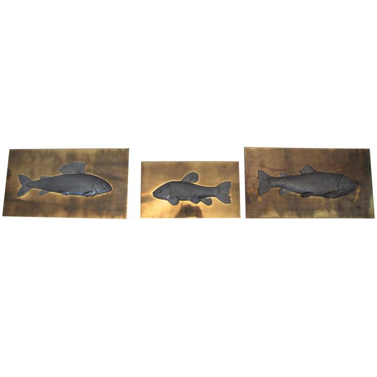 Set of three fish panels studio e designo signed and for L fish furniture