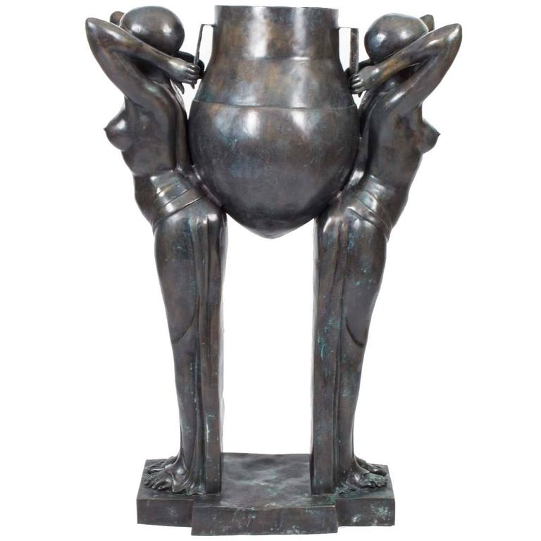 Art Deco Bronze Biba Ladies Jardiniere the Water Carriers For Sale at ...