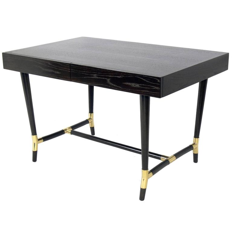 Elegant Ebonized and Brass Desk