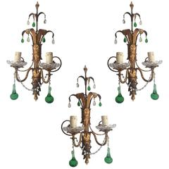 Set of Three French Gilt Brass Wall Sconces