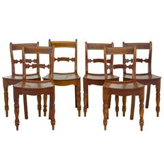 Set of Six 19th Century Fruitwood Saddle Seat Dining Chairs