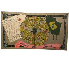 Jogo Do Ideal 1956 Hand-Painted Carved Brazilian Political Folk Art Game Board