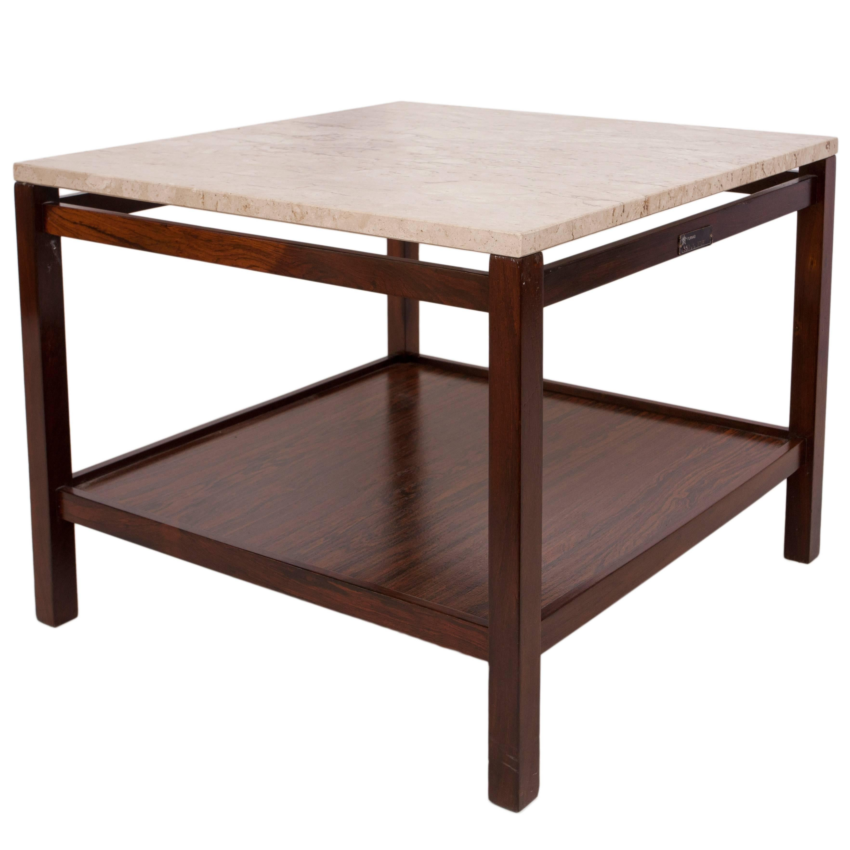 1960s Jacarandá Side Table with Marble Top