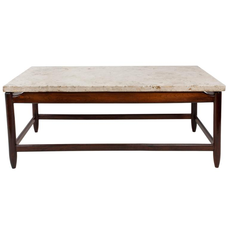 Sergio Rodrigues Marble-Top Coffee Table