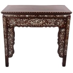 19th Century Qing Dynasty Hardwood and Mother-of-pearl Inlaid Console Table