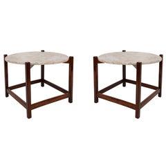 Pair of Celina Marble-Top Jacarandá Side Tables