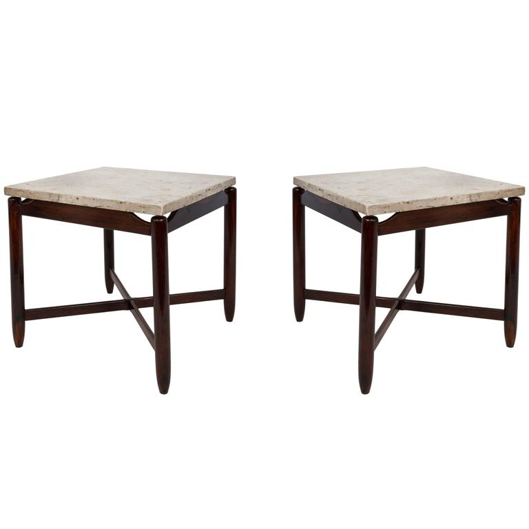 Pair of Sergio Rodrigues Marble and Jacarandá Side Tables