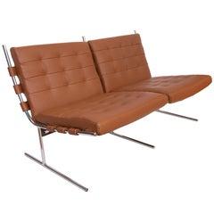 Jorge Zalszupin Leather Sofa on 'T Invertido' Base