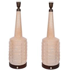 Pair of 1950s Ceramic Bottle Table Lamps