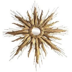Large Detailed Brass Sunburst Brutalist Style Circular Mirror Solid Brass