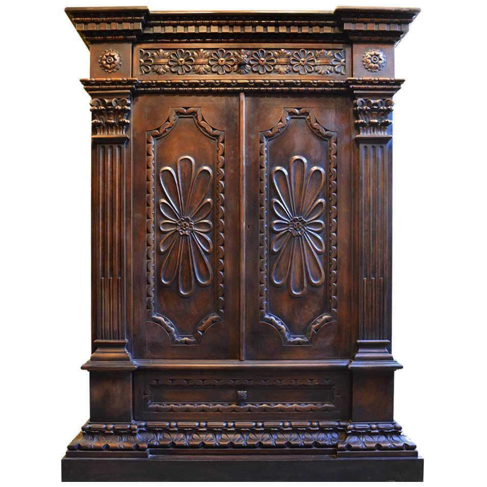 antique carved walnut petite armoire dresser at 1stdibs. Black Bedroom Furniture Sets. Home Design Ideas