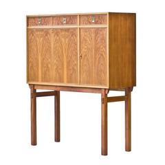 Swedish 1960s Walnut Secretaire or Bar Cabinet