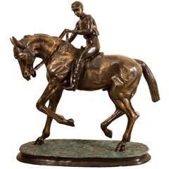 Stunning Large Horse and Jockey Bronze Sculpture, Mene