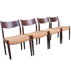Danish 1960s Retro Solid Rosewood Moller Dining Chairs