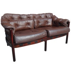 Danish Rosewood Arne Norell Brown Leather Sofa