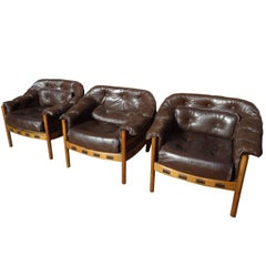 Sought After Rare Danish Arne Norell Brown Leather Chairs