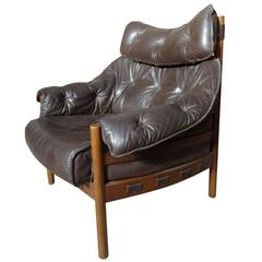 Sought after, Rare Danish  Arne Norell Brown Leather Gents Club Chair