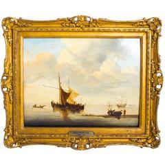 Antique Oil Painting Dutch Shipping Scene van der Velde Jr