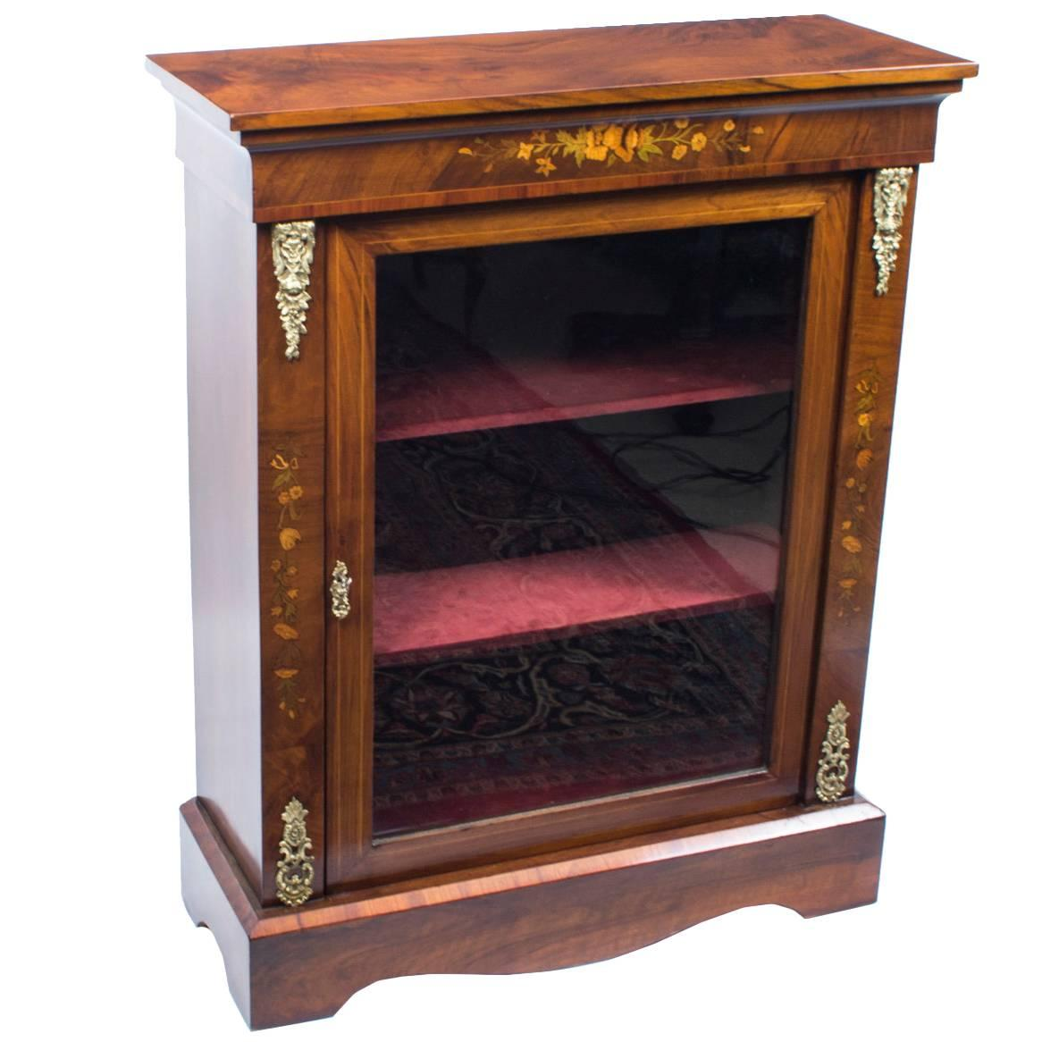 19th Century Victorian Burr Walnut Marquetry Pier Cabinet