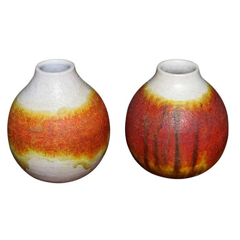 Pair of Signed Fantoni Orange Glazed Pottery Vessels
