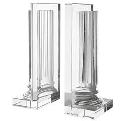 Crystal Extra Large Set of Two Bookend in Crystal Glass