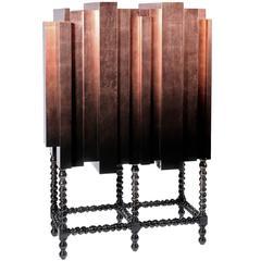 Dali Copper Cabinet Solid Mahogany Copper Leaf and Black Laquered