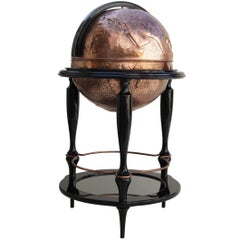 Planisphere Copper Bar Hand-Hammered Black Lacquered Wood and Glass