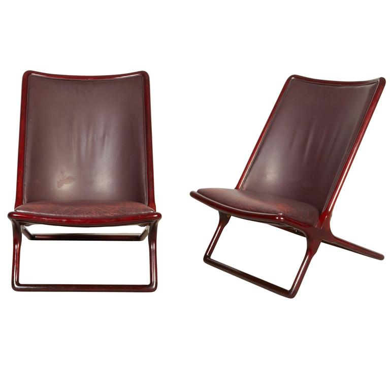 Pair of Ward Bennett 'Scissor Chairs' for Brickel
