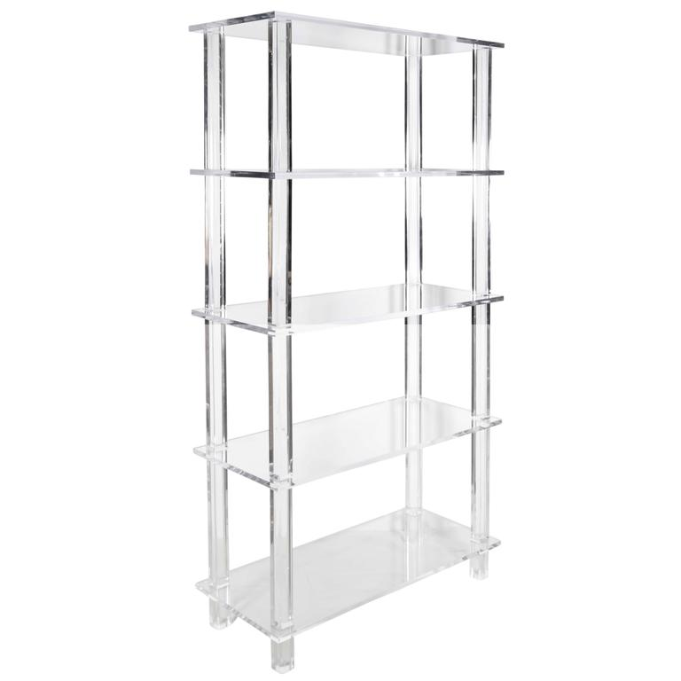 tall clear lucite etagere at 1stdibs. Black Bedroom Furniture Sets. Home Design Ideas