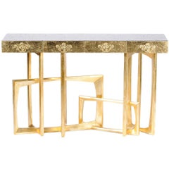 Gold Frame Console in Solid Mahogany Gold Leaf and Lacquered