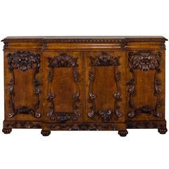 Antique English Pollard Oak Buffet Credenza, circa 1850