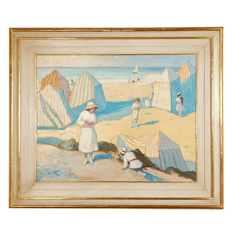Art Deco Beach Scene Painting by Martin Lindenau