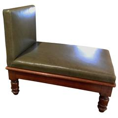 English Metamorphic Mahogany and Leather Upholstered Foot Stool, 19th Century