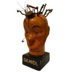 Luciano Achille Mauzán Antique Advertising Head Plaster Statue
