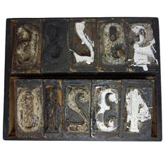Set of Wood Number Printing Blocks from France