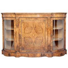 19th Century High Victorian Inlaid Walnut Credenza