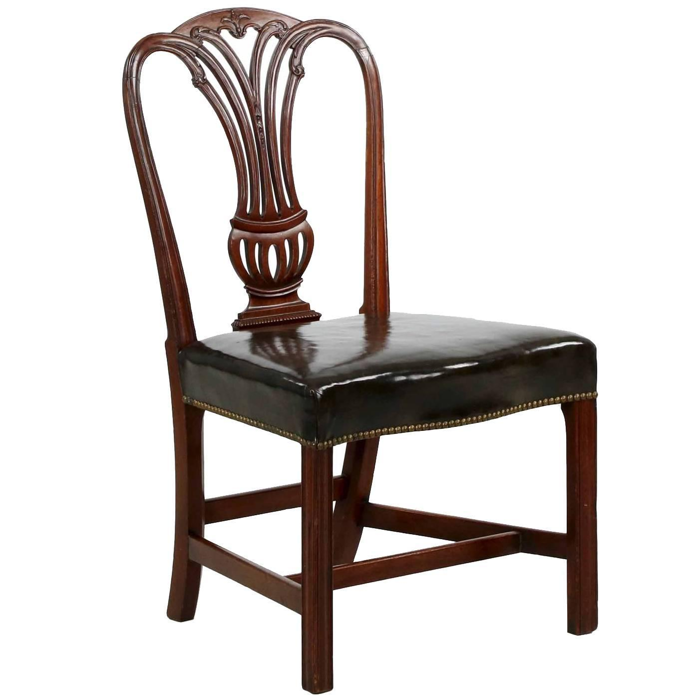 English Georgian Carved Mahogany Leather Antique Side Chair, Late 18th  Century at 1stdibs - English Georgian Carved Mahogany Leather Antique Side Chair, Late