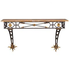 Vintage French Art Deco Gilded Iron Console Table Stone Top, circa 1930