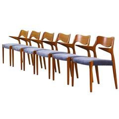 Set of Six Rare Danish Niels Møller Armchairs Dining Chairs Teak