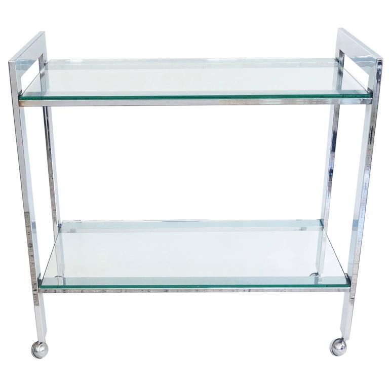 Milo Baughman For Dia Flat Bar Cart In Polished Chrome And