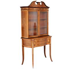 19th Century Sheraton Revival Inlaid Rosewood Display Cabinet