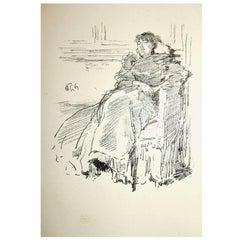 "James Abbott McNeill Whistler Original Lithograph, 1894, ""La Robe Rouge"""