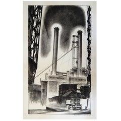 """Louis Lozowick Original Lithograph, 1929 """"Edison Plant"""""""