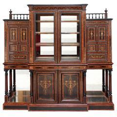 Stunning 19th Century Aesthetic Movement Yew Display Cabinet